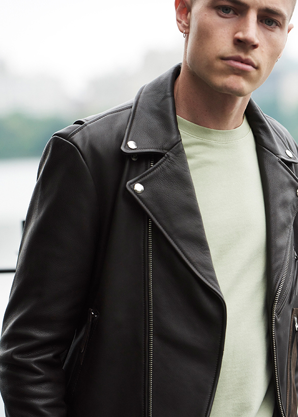 Vintage-inspired men's leather jacket.