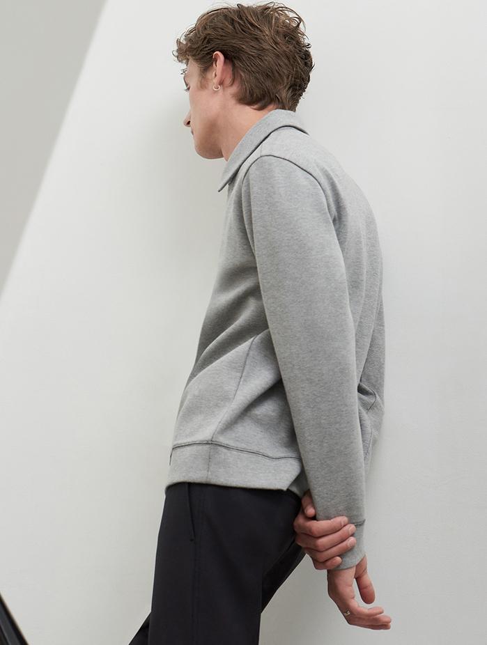 Men's zip-up sweatshirt and fall transitional knits.