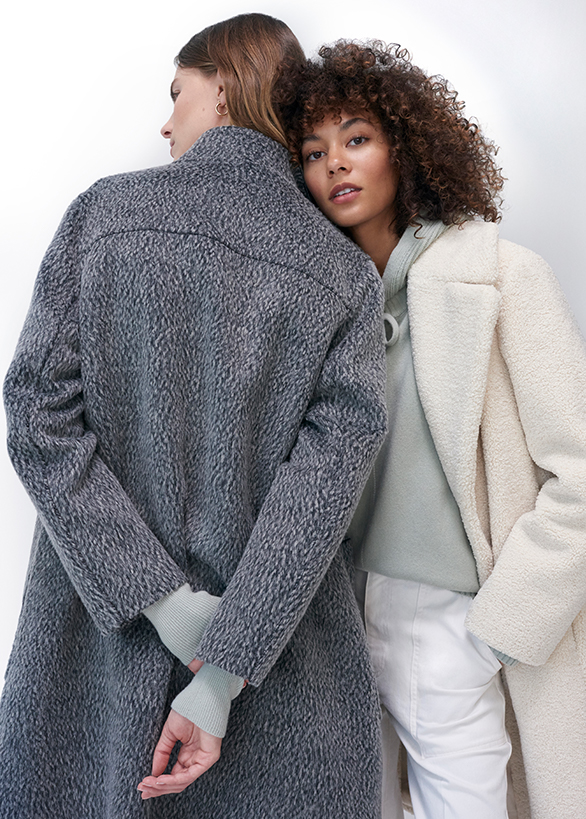 Essential wool outerwear and cashmere crewneck sweaters