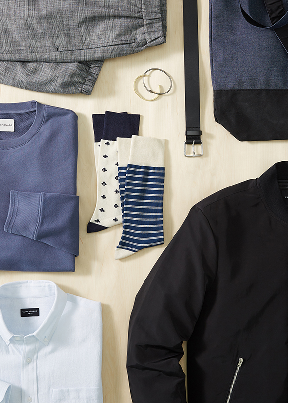 Men's layering pieces for early fall—slim fit button-down, cotton socks, cotton crewneck tee.