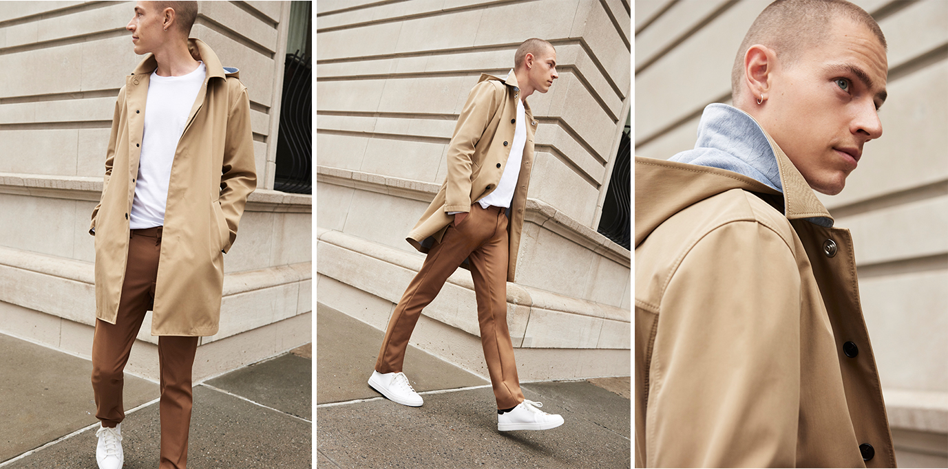 Transitional men's trench coat.