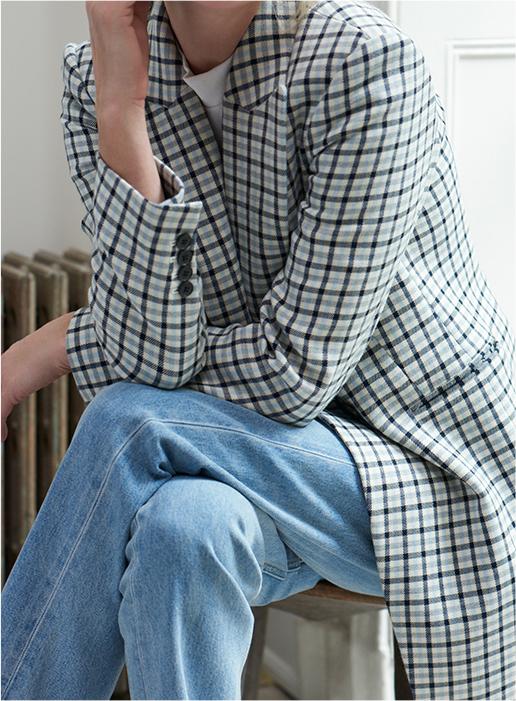 Versatile colorblock trench coat.