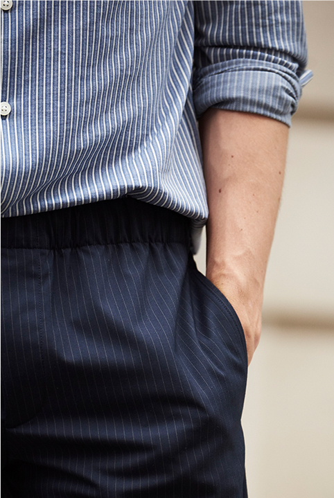 Man in slim-fit knit button-down shirt.